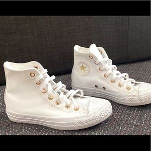 converse all stars, white and gold